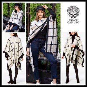VINCE CAMUTO LUXE CAPE WRAP FRINGE BLANKET WRAP